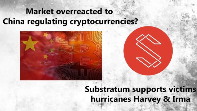 News: Market overreacted to Chinese news? – Substratum supports hurricane victims