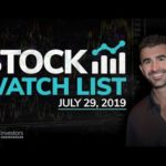 Stock Watch List and Game Plan for July 29, 2019
